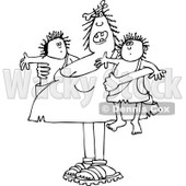 Clipart of a Chubby Black and White Cavewoman Mom Holding Twin Boys - Royalty Free Vector Illustration © djart #1290833