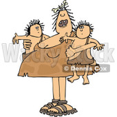 Clipart of a Chubby Cavewoman Mom Holding Twin Boys - Royalty Free Vector Illustration © djart #1290837