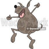 Clipart of a Happy Brown Spotted Dog Jumping for Joy - Royalty Free Vector Illustration © Dennis Cox #1290838