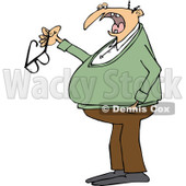 Clipart of a Chubby Senior Caucasian Man Talking and Holding His Glasses - Royalty Free Vector Illustration © djart #1290839
