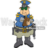 Clipart of a Caucasian Male Police Officer Writing a Ticket - Royalty Free Vector Illustration © djart #1291135