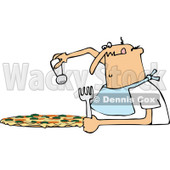 Clipart of a Chubby Bald Caucasian Man Salting a Pizza - Royalty Free Vector Illustration © djart #1291605