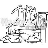 Cartoon Clipart of a Black and White Chubby Bald Valentine Cupid Caught on the Toilet - Royalty Free Vector Illustration © Dennis Cox #1291607