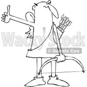Cartoon Clipart of a Black and White Bald Male Hitchhiking Cupid - Royalty Free Vector Illustration © djart #1291609