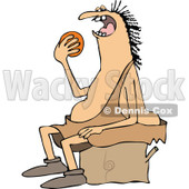 Clipart of a Chubby Caveman Sitting on a Stump and Eating an Orange - Royalty Free Vector Illustration © djart #1292382