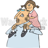 Clipart of a Happy Chubby Caucasian Grandpa Carrying a Girl on His Shoulders - Royalty Free Vector Illustration © djart #1292384
