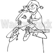 Clipart of a Black and White Happy Chubby Grandpa Carrying a Girl on His Shoulders - Royalty Free Vector Illustration © djart #1292385