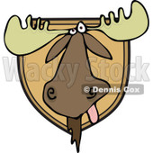 Clipart of a Trophy Hunting Mounted Moose Head - Royalty Free Vector Illustration © djart #1292388