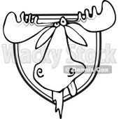 Clipart of a Black and White Trophy Hunting Mounted Moose Head - Royalty Free Vector Illustration © djart #1292389