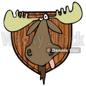 Clipart of a Trophy Hunting Moose Head Mounted on Wood - Royalty Free Illustration © djart #1292390