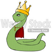 Proud Green King Snake in a Robe and Crown Clipart Illustration © Dennis Cox #12928