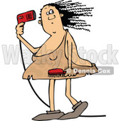 Clipart of a Chubby Cavewoman Blow Drying Her Hair - Royalty Free Vector Illustration © djart #1292847