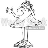 Clipart of a Chubby Black and White Caveman Gesturing and Shouting on a Cell Phone - Royalty Free Vector Illustration © djart #1292850