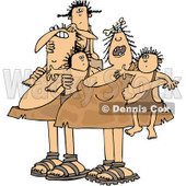 Clipart of a Chubby Caveman Dad and Mom with Children - Royalty Free Vector Illustration © djart #1292851