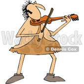 Clipart of a Chubby Sophisticated Caveman Playing a Violin - Royalty Free Vector Illustration © djart #1292852