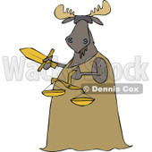 Clipart of a Blindfolded Lady Justice Moose Holding a Sword and Scales - Royalty Free Vector Illustration © djart #1292862