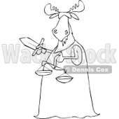 Clipart of a Blindfolded Black and White Lady Justice Moose Holding a Sword and Scales - Royalty Free Vector Illustration © djart #1292863