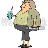 Clipart of a Chubby White Woman in Capris, Holding a Fountain Soda - Royalty Free Vector Illustration © djart #1292864