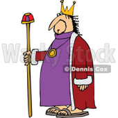 Clipart of a Chubby White Male King with a Robe and Staff - Royalty Free Vector Illustration © djart #1292867