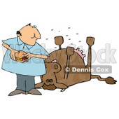 Man Eating a Hamburger by a Dead Cow Clipart Illustration © djart #12935