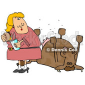 Woman Eating a Hamburger by a Dead Cow Clipart Illustration © djart #12936
