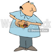 Chubby Man Eating a Fast Food Cheeseburger Clipart Illustration © djart #12938