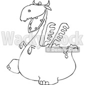 Lineart Clipart of a Black and White Dragon Walking to the Left - Royalty Free Outline Vector Illustration © djart #1293826