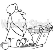 Lineart Clipart of a Black and White Woman in Her Robe, Sitting with Coffee and Using a Laptop Computer - Royalty Free Outline Vector Illustration © Dennis Cox #1293829