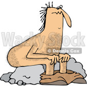 Clipart of a Hairy Caveman Pooping and Sitting on a Rock - Royalty Free Vector Illustration © djart #1293830
