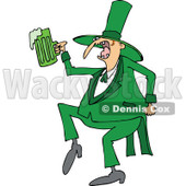 Clipart of a Drunk St Patricks Day Leprechaun Dancing with Green Beer - Royalty Free Vector Illustration © djart #1293836