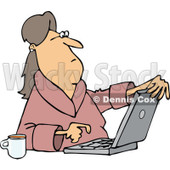 Clipart of a Caucasian Woman in Her Robe, Sitting with Coffee and Using a Laptop Computer - Royalty Free Vector Illustration © djart #1293837