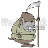 Old Dog With a Gray Beard, Holding a Scythe Clipart Illustration © Dennis Cox #12940