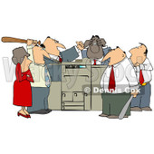Clipart of a Frustrated White and Black Employee Office Mob Gathered Around a Copy Machine or Printer with Baseball Bats - Royalty Free Illustration © Dennis Cox #1294034