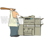 Clipart of a Frustrated Caucasian Businessman Holding a Bat up over a Copy Machine or Printer - Royalty Free Illustration © Dennis Cox #1294035