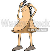 Clipart of a Chubby Caveman Combing His Hair - Royalty Free Vector Illustration © djart #1294125