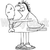 Lineart Clipart of a Black and White Hungry Chubby Caveman Eating a Giant Drumstick - Royalty Free Outline Vector Illustration © djart #1294128