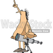 Clipart of a Chubby Caveman Pointing at the Sky and Standing by a Telescope - Royalty Free Vector Illustration © djart #1294129