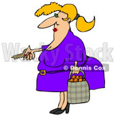 Chubby Woman Unlocking Her Door and Carrying a Bag of Oranges Clipart Illustration © djart #12943