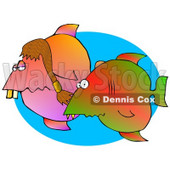 Silly Couple of Tropical Fish Swimming in the Ocean Clipart Graphic Illustration © Dennis Cox #12947