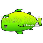 Green Buck Toothed Fish Clipart Graphic Illustration © Dennis Cox #12948
