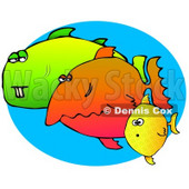 Weird Group of Diverse Fish Swimming in the Sea Clipart Graphic Illustration © Dennis Cox #12950