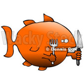 Hungry Killer Goldfish With a Fork and Knife Clipart Graphic Illustration © djart #12951