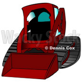 Red Bobcat Skid Steer Loader With Blue Window Tint Clipart Graphic Illustration © Dennis Cox #12953