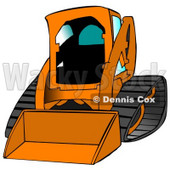 Orange Bobcat Skid Steer Loader With Blue Window Tint Clipart Graphic Illustration © Dennis Cox #12955