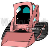 Girly Pink Bobcat Skid Steer Loader With Blue Window Tint Clipart Graphic Illustration © djart #12956