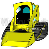 Yellow Bobcat Skid Steer Loader With Blue Window Tint Clipart Graphic Illustration © Dennis Cox #12958