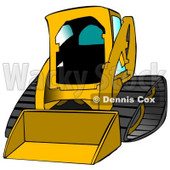 Dark Yellow Bobcat Skid Steer Loader With Blue Window Tint Clipart Graphic Illustration © Dennis Cox #12959