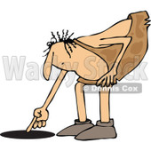 Clipart of a Chubby Caveman Pointing down to a Hole - Royalty Free Vector Illustration © djart #1295995