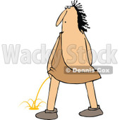 Clipart of a Chubby Caveman Looking Back and Peeing - Royalty Free Vector Illustration © djart #1295997