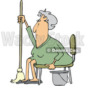 Clipart of a Tired or Lazy Sitting Senior White Woman with a Mop and Bucket - Royalty Free Vector Illustration © djart #1296002